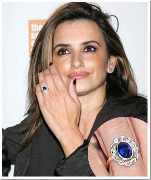 Engagement Rings Celebrity: Penelope Cruz Sapphire Engagement Ring Top 10 Celebrity