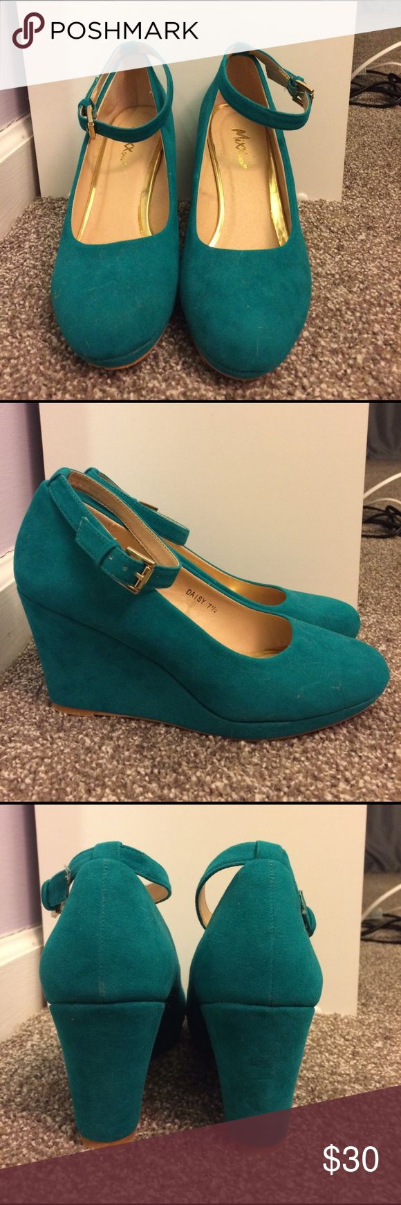 "Mixx Shuz teal wedge Mixx Shuz teal wedges with ankle strap. Super cute ; Perfect with white jeans! Size 7.5. 3.5"" heel. Mixx Shuz Shoes Wedges"