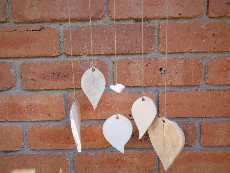 Ceramic leaf wind chime, botanical pottery outdoor garden decoration, organic porch verandah windchime terrace or loggia hanging mobile by MonikaWithaKCeramics on Etsy