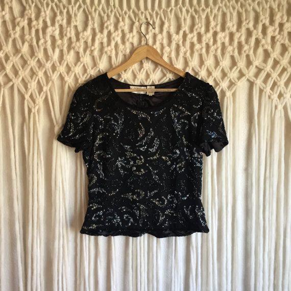 Cuentas blusa negro / / negro moldeado en Base negro / / Vintage cuentas Top / / medio / seda
