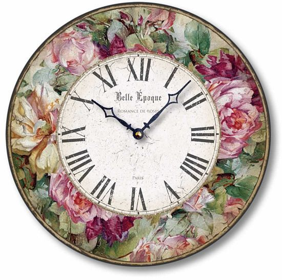 Item C8219 Vintage Victorian Style Roses 12 Inch Clock