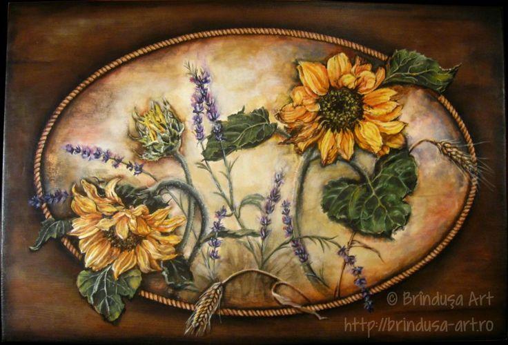 Sunflowers, lavender and wheat: the lid of an old cottage trunk, painted in acrylics. Floarea-soarelui, levănţică şi grâu: capacul unei lăzi vechi, de la ţară, pictat în culori acrilice.  :-)  #woodpainting #picturapelemn #paintedfurniture #mobilapictata #paintedtrunk #cottage #sunflowers #lavender #wheat #acrylics #acrilice #handmade