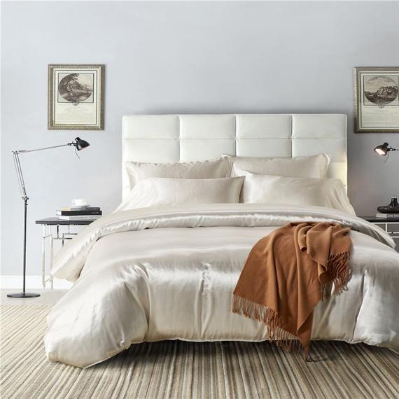 Silk Like White Duvet Cover Soft Silky Bright Quilt Cover Etsy Duvet Bedding Sets Duvet Cover Sets Bed Linens Luxury