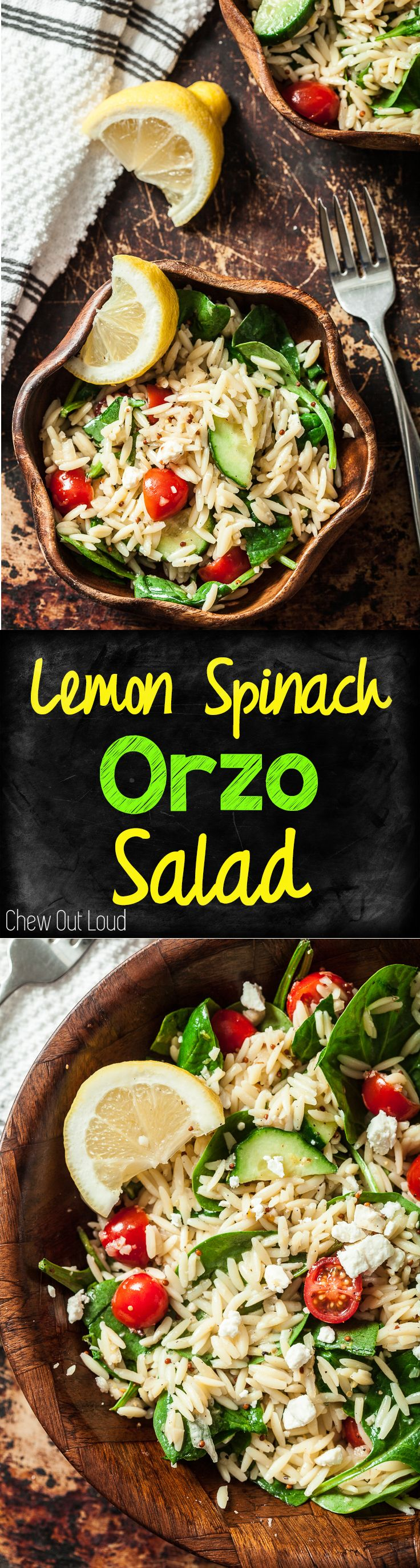 20-Minute Lemon Spinach Orzo Salad. It's refreshing, clean and light, yet fully satisfying. Deeelish. The family gobbles this up. #lemon #spinach #orzo #salad www.chewoutloud.com