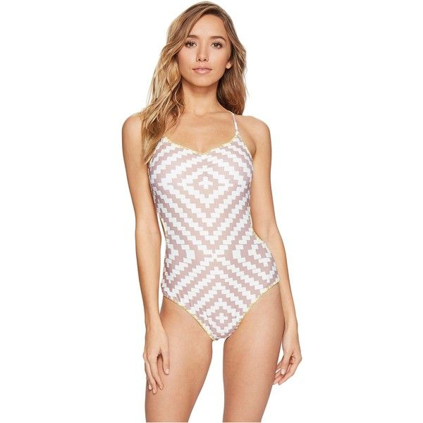 O'Neill Surf Bazaar One-Piece Swimsuit (Nude) Women's Swimsuits One... ($58) ❤ liked on Polyvore featuring swimwear, one-piece swimsuits, beige, v neck one piece swimsuit, one piece swim suit, tie-dye bathing suits and cut out bathing suit