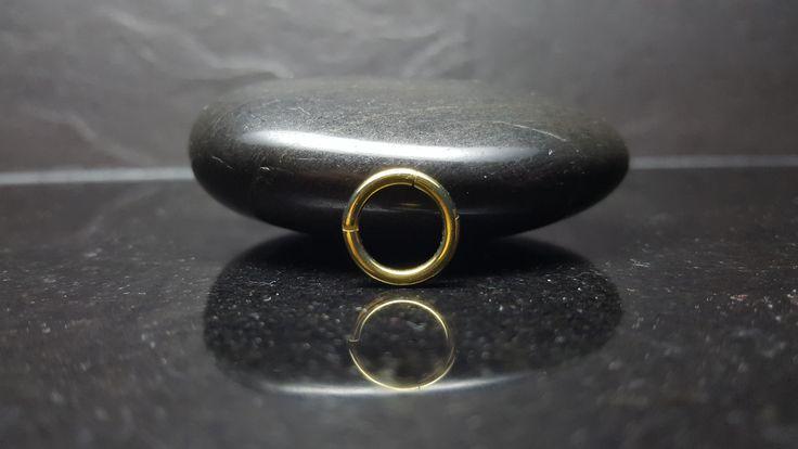 Hoy os traigo un precioso aro con bisagra que lo hace muy sencillo el ponerlo y quitarlo. Esta joya está fabricado con material 100% hipoalegénico, es de Titanio Grado Implante y anodizado en color Oro Amarillo. Es ideal para el Piercing Septum, el Helix, el Daith o el Pezón. #piercingseptum #piercingpezon #piercingdaith #piercinghelix