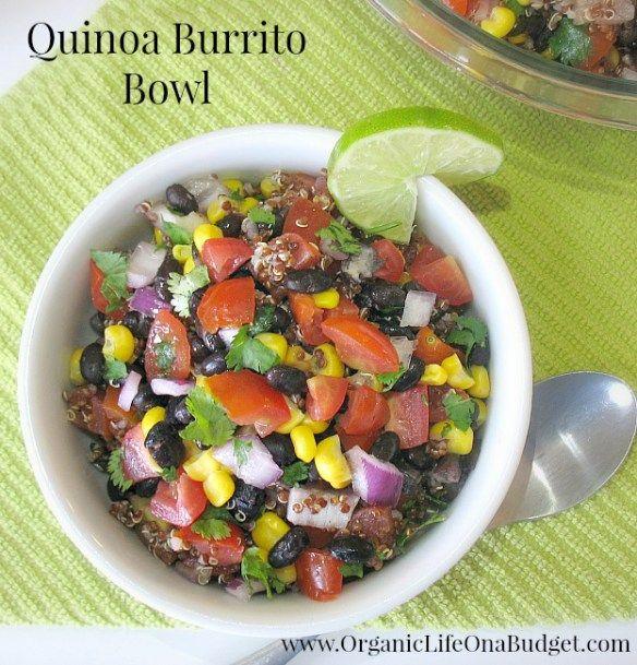 Quinoa Burrito Bowl #cleaneating challenge vegan organic www.OrganicLifeOnaBudget.com