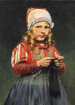 Rudolf Possin - Van Ham Kunstauktionen - A Girl Knitting.