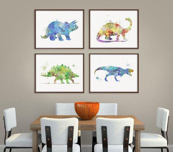 Fancy Dinosaur Art Print Set of Prints Dinosaur Poster Dinosaur Wall Decor