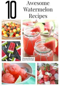 10 Awesome Watermelon Recipes, including watermelon cupcakes, watermelon salads, watermelon salsa, and refreshing watermelon beverages.