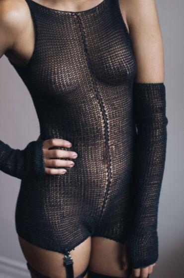 Maude Nibelungen Cotton Knit High Neckline Leotard ($165.00) and Long Fingerless Gloves in Black ($80.00) I Bedroom Barre: Ballet-Inspired Lingerie & Loungewear Fit For a Fairytale