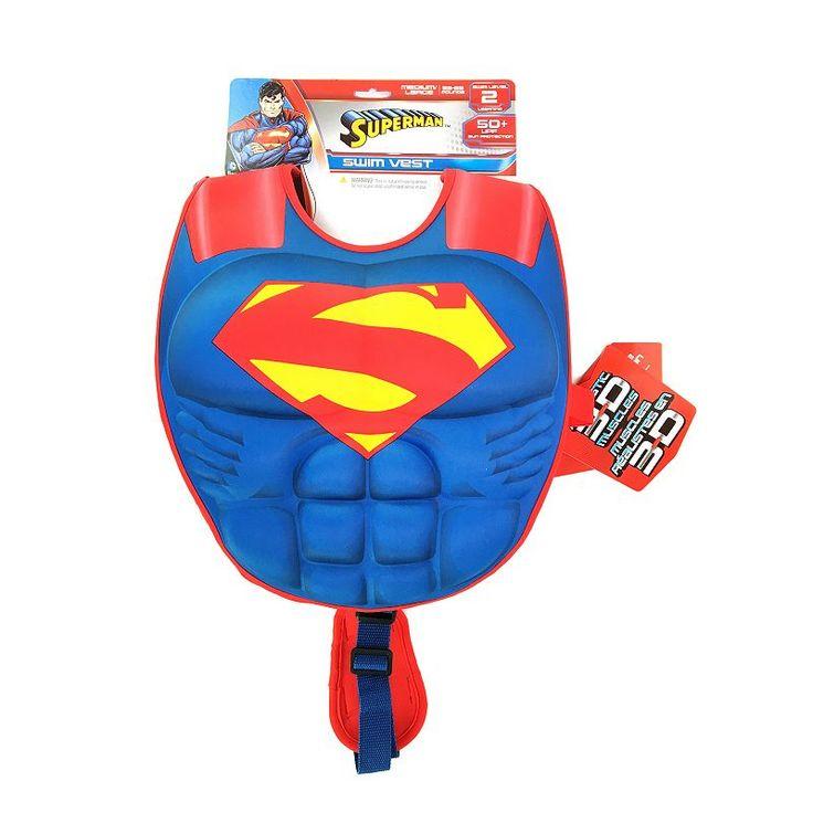 Justice League Superman 3D Muscle Swim Vest, Multicolor