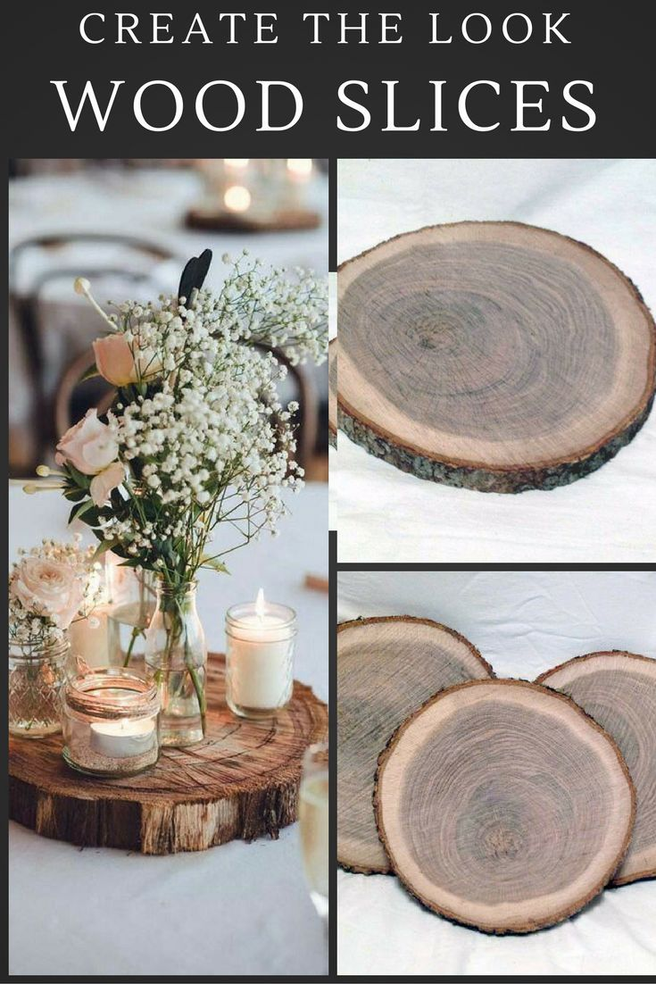 Create The Look For Yourself 6 Wood Slices 9 To 10 Rustic Wedding Centerp Rustic Wedding Centerpieces Wedding Centerpieces Diy Rustic Rustic Centerpieces Diy