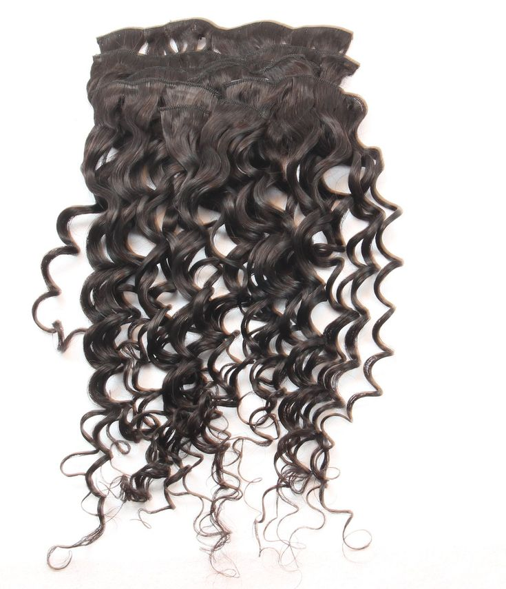 Natural Wave Clip in Human Hair Extensions Brazili…