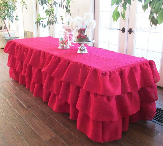Red Burlap Ruffled Tablecloth-Rustic and Vintage by MyHauteStuff
