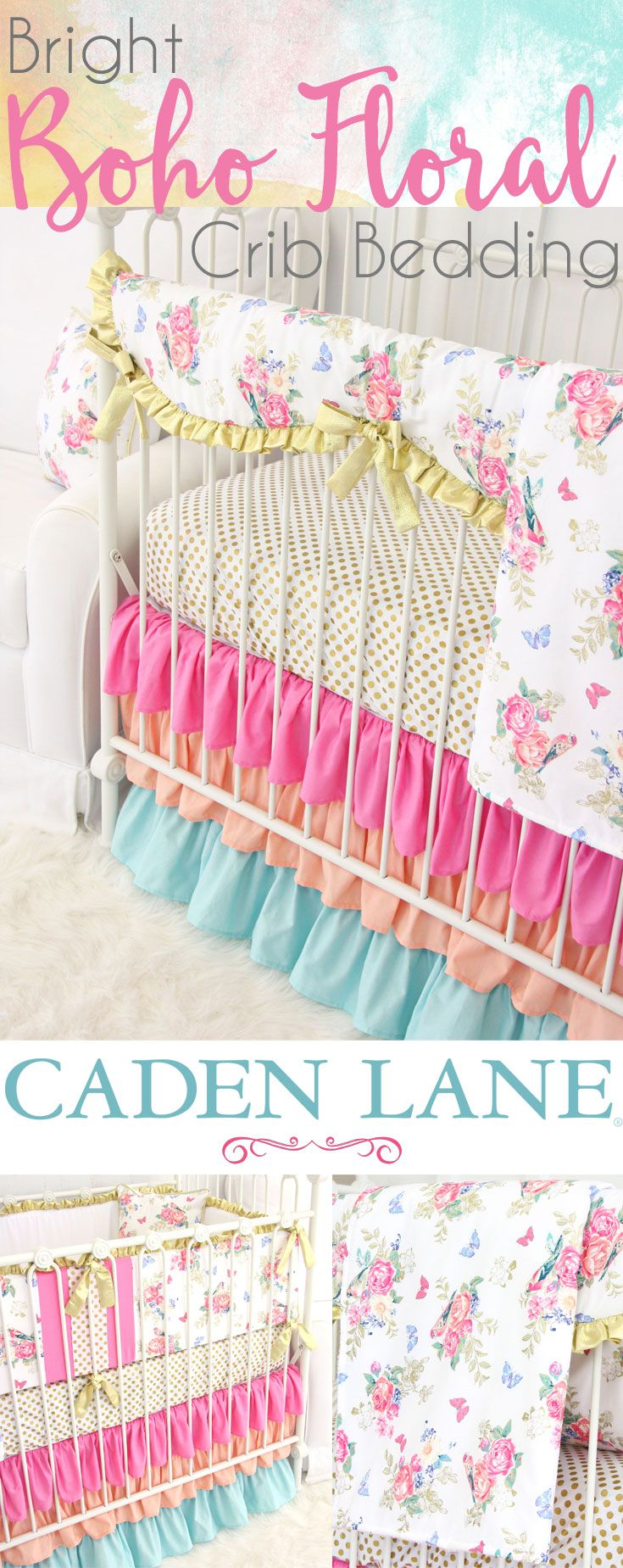 Baby crib gertie - Go Bright With Olivia S Bright Boho Floral Crib Bedding Collection From Caden Lane This Fun