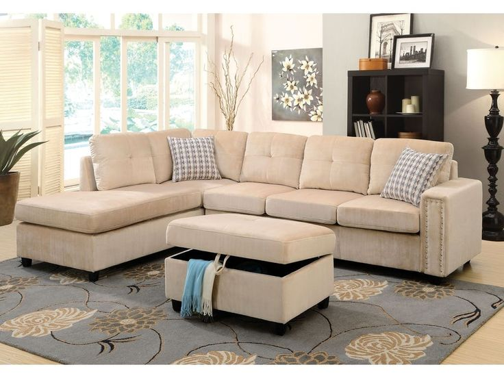 Acme Belville Beige Sectional Sofa 52705 For $650