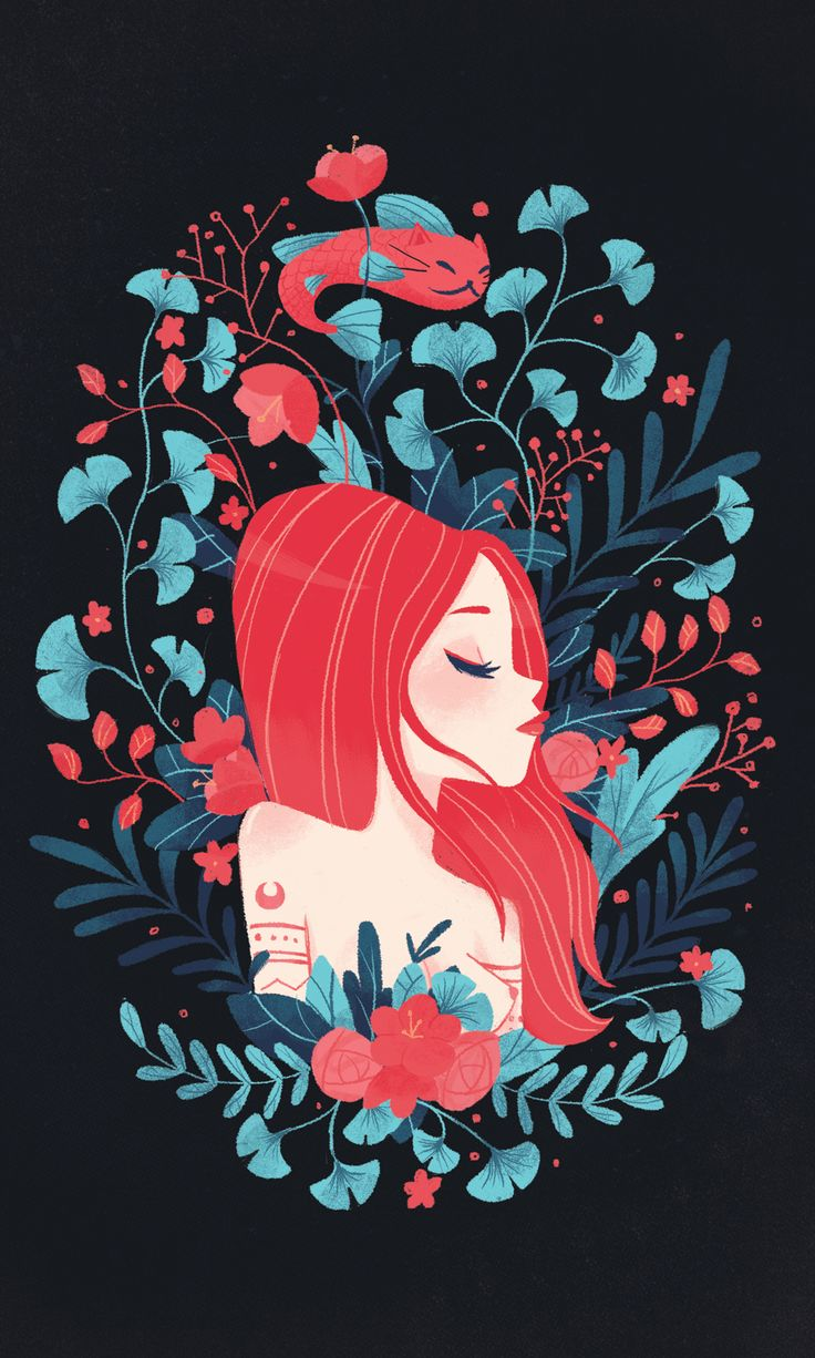 Redhead lady and Catfish postcard on Behance