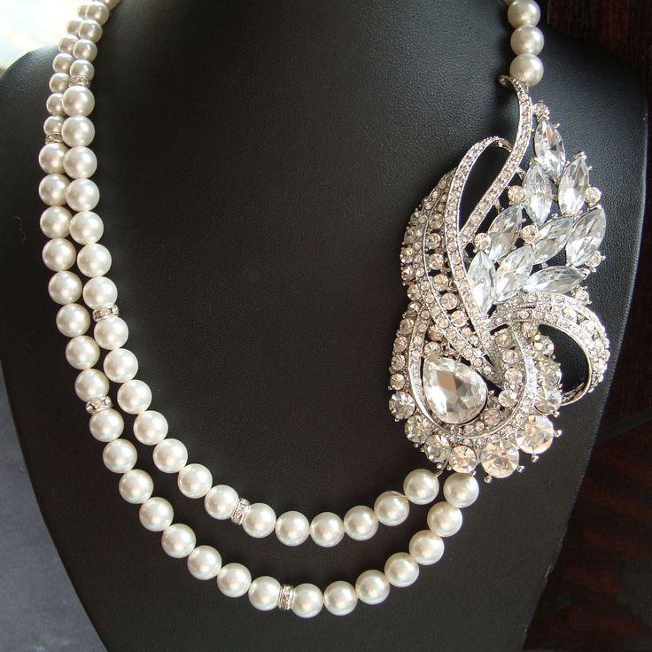 Art Deco Vintage Bridal Jewelry, Wedding Rhinestone Necklace, Ivory Bridal White Pearl Necklace, Bridgette Collection. $128.00, via Etsy.