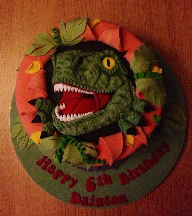 T-Rex Cake - I had a lot of fun creating this for my friends nephew. He doesn't like buttercream or jam so it's just a plain Madeira sponge and he also wanted a scary dinosaur, not a cute one :) xx