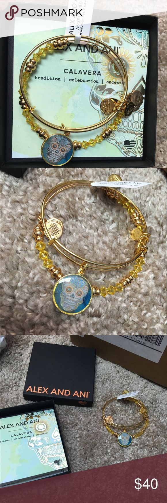 Alex and ani calavera April 2017 bracelet Alex and ani calavera April 2017 exclusive bracelet. ******Never worn, out of the box with the scratches located on the back - it was a gift so I couldn't give it like that**** Alex & Ani Jewelry Bracelets