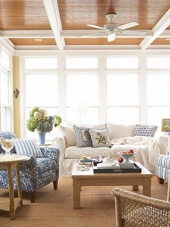 blue + white sunroom, wood ceiling