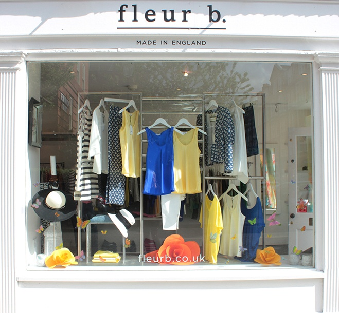 fleur b. boutique- window display in chelsea