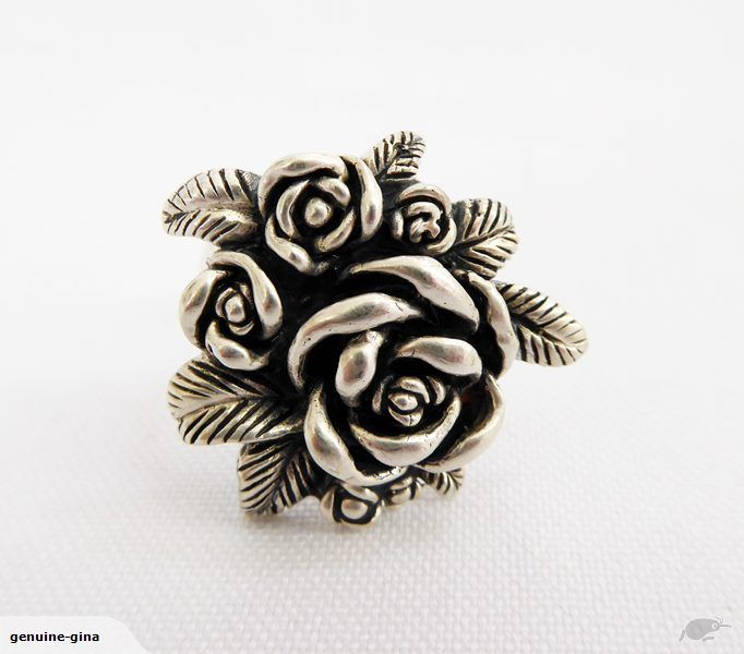 Sterling silver rose cluster ring size P