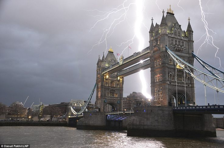A lightning bolt striking over Tower Bridge in Central London, taken by amateur photographer Daoud Fakhri during a storm on January 25th 2014 - From Daily Mail website