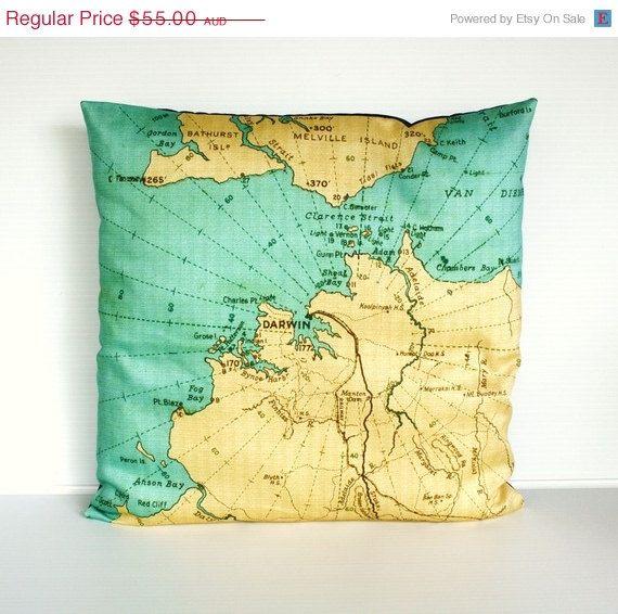 ON SALE cushion cover pillow DARWIN Australia  by mybeardedpigeon, $50.00