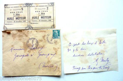 Service-des-essences-des-Armees-Bon-pour-huile-moteur-validite-Octobre-1945