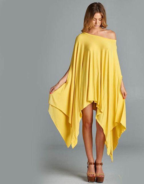 2016 Nuevas Mujeres Del Verano Más El Tamaño de Una sola pieza Vestido de La Manera Irregular Capa Suelta Batwing Manga Larga Camisas 7 Colores