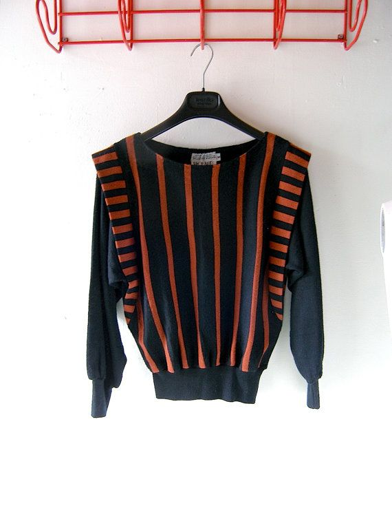 Black and rust striped 80s sweater - Richard and Co - fall winter designer knitwear - size medium - back to school - 1970s 1980s design