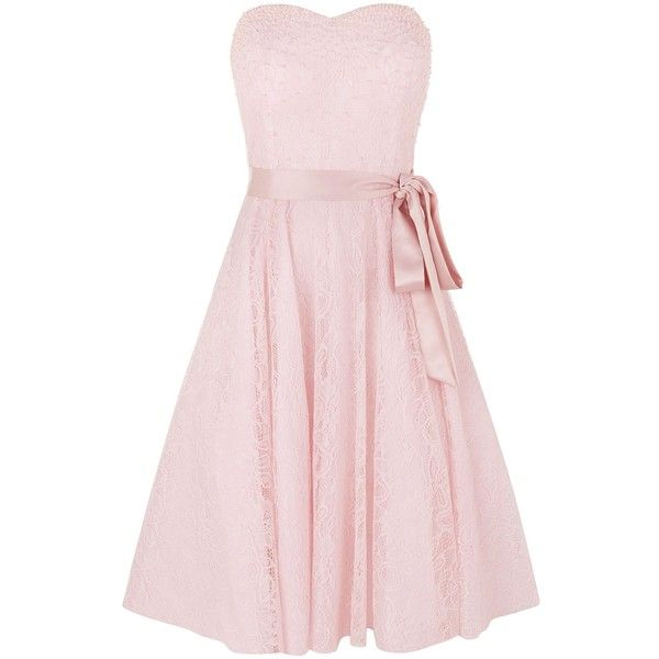 Kaliko Beaded Bustier Prom (£79) ❤ liked on Polyvore featuring dresses, clearance, pastel pink, collar dress, beaded bustier, pink dress, pastel prom dresses and beaded prom dresses
