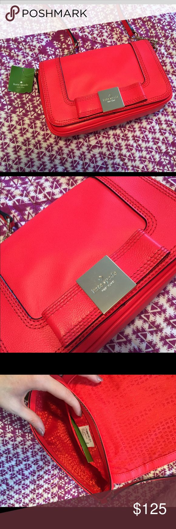 Kate spade cross-body bag NEW WITH TAGS!  Katie spade cross body bag with bow detail.  Bright geranium color. kate spade Bags Crossbody Bags