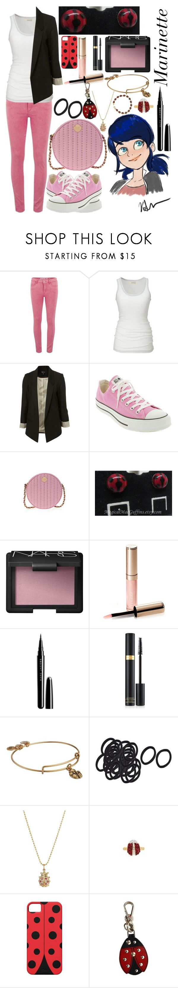 """""""Marinette Dupain-Cheng: Miraculous Ladybug"""" by ender-chic52 ❤ liked on Polyvore featuring ONLY, Lee, Converse, Henri Bendel, NARS Cosmetics, By Terry, Marc Jacobs, Tom Ford, Alex and Ani and Sydney Evan"""