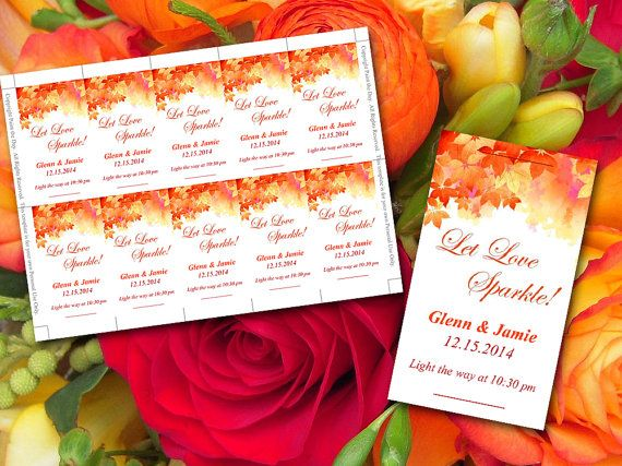 Let Love Sparkle Sparkler Tag Autumn Wedding Watercolor Fall Burnt Orange Red