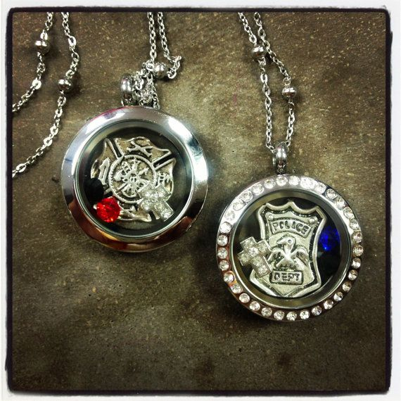Policeman Firefighter EMT Hero Locket Necklace by myheartsaKEs