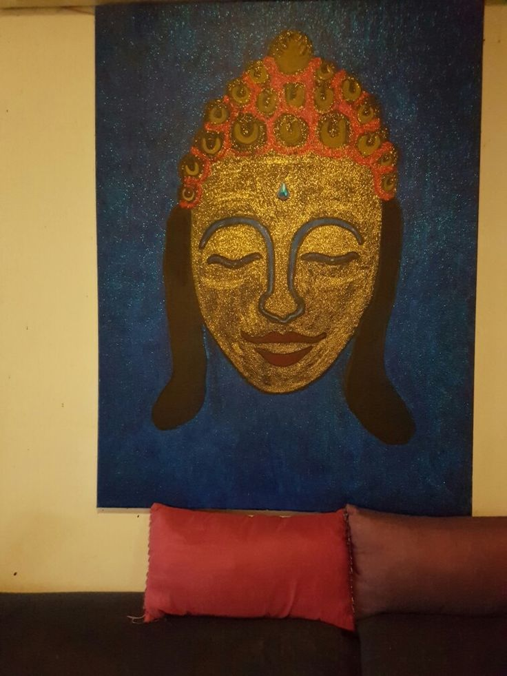hand painted buddha with glitter
