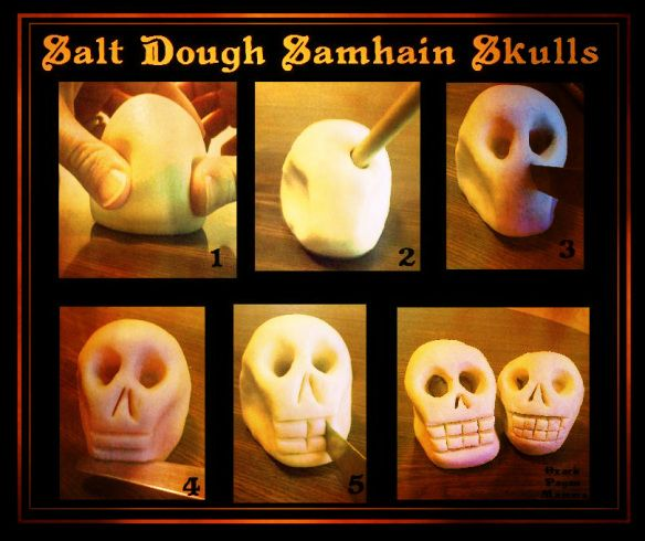 Salt Dough Samhain Skulls - Or dios de muerta- nov 2, 2015