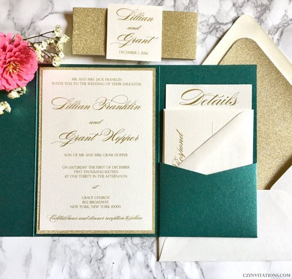 This Emerald Green and Gold Glitter Pocket Wedding Invitation is the perfect mix of classic and modern. The invitation is printed with gold ink, on 4.5x6.5 Cream card stock and mounted to a Gold Glitter Mat. The Pocket is a dazzling metallic Emerald Green, paired with simple cream envelopes. The glitter card stock is super sparkly, heavy duty, and best of all it doesnt flake! It is available in mats, belly bands, and envelope liners, as shown. All of our envelope and paper colors are…