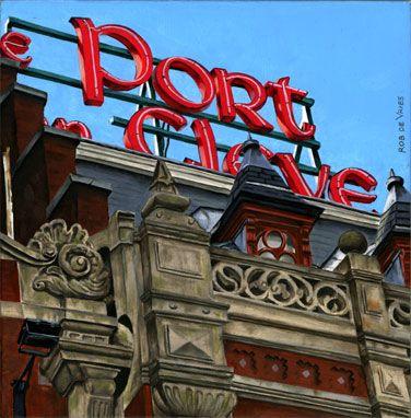 Postcards from Amsterdam #6 Die Port van Cleve. Oil on panel. 15 x 15 cm. http://www.postcardsfromamsterdam.eu