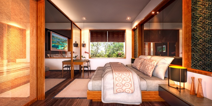 Bedroom Agranusa Signature Villa.    Master Bedroom.    Located on the second floor for privacy, with a private bathroom for convenience, the master bedroom is a haven of tranquility.