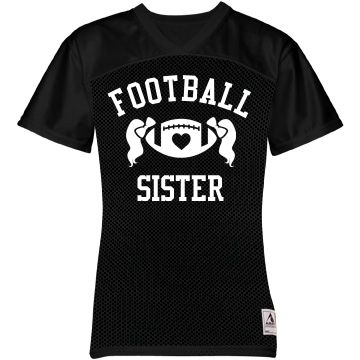 Football Sister FB Jersey | Football sisters are always the biggest fans! Get your daughter a cool youth jersey to wear to her brothers games. This cool design has a football with a heart in it and pigtails coming out of it. It's great to see siblings cheering each other on!