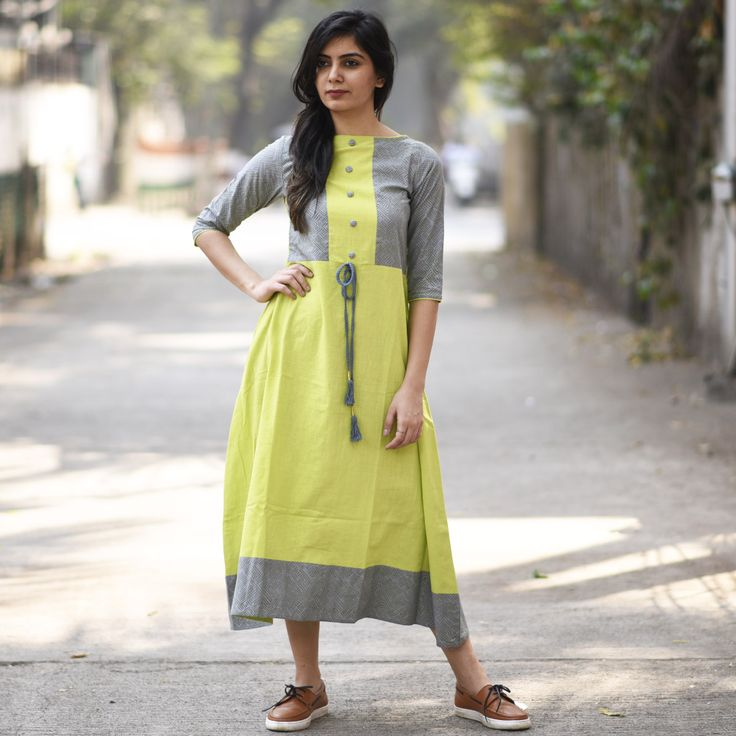 RustOrange Lime and Grey Khadi Solid Anarkali Kurti