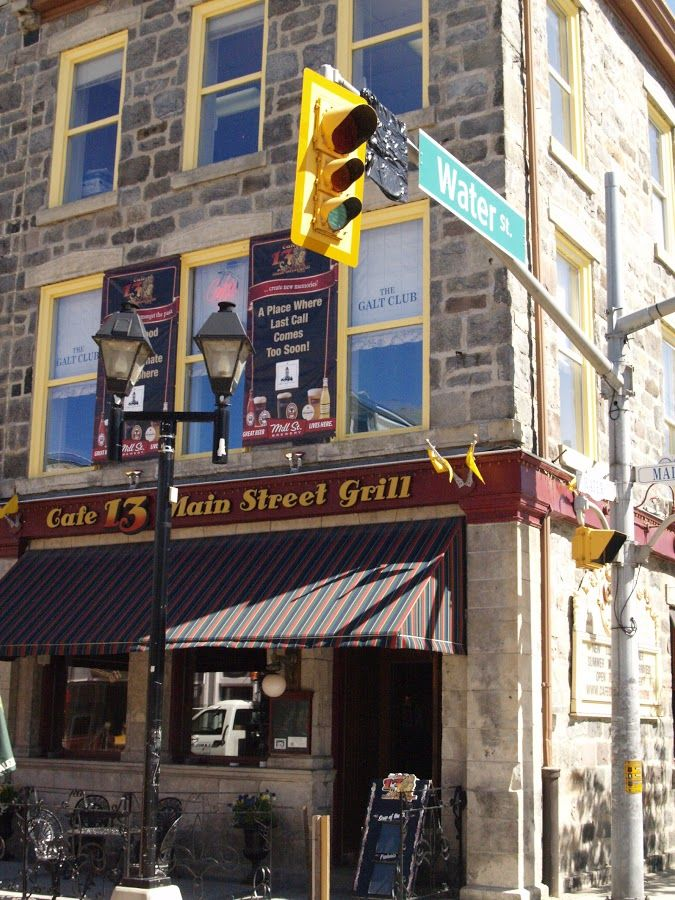 Cafe 13, on the corner of Water St and Main St in downtown Galt.