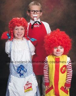 Colonel Sanders, Wendy and Ronald Mcdonald Halloween Costumes: I decided to theme all three of kids together as fast food Icons.  We have Colonel Sanders, that I fashioned from an old pair of sunglasses with the lenses