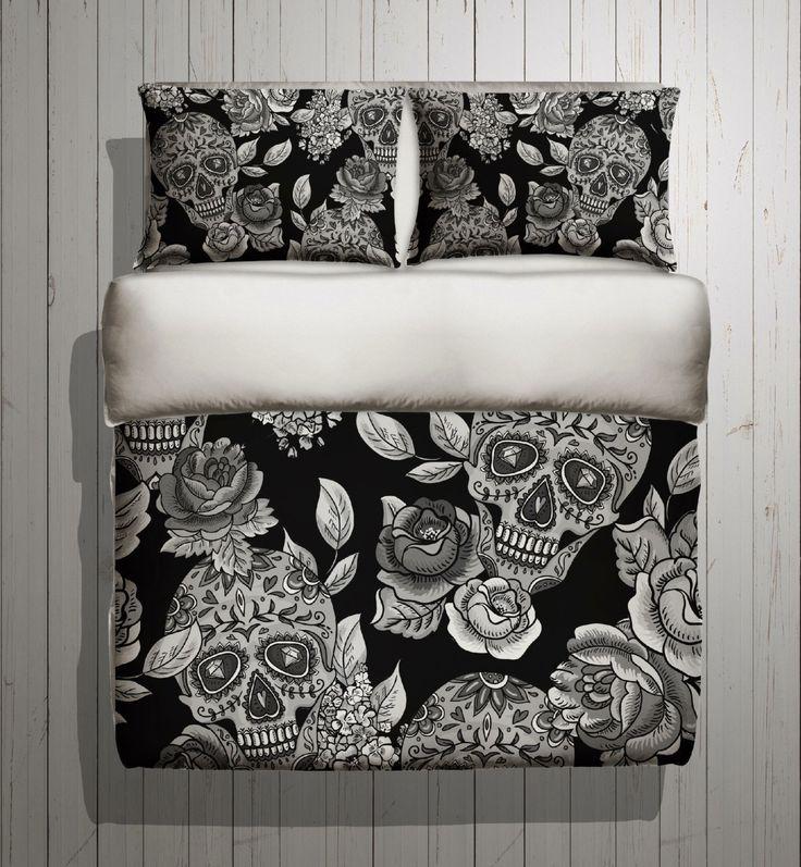 Sugar Skull Bedding - ANY COLOR Mega Print with Large Detailed Skull and Rose Print - Sugar Skull Bed Linen, Sugar Skull Bedding Set by InkandRags on Etsy https://www.etsy.com/listing/225304342/sugar-skull-bedding-any-color-mega-print