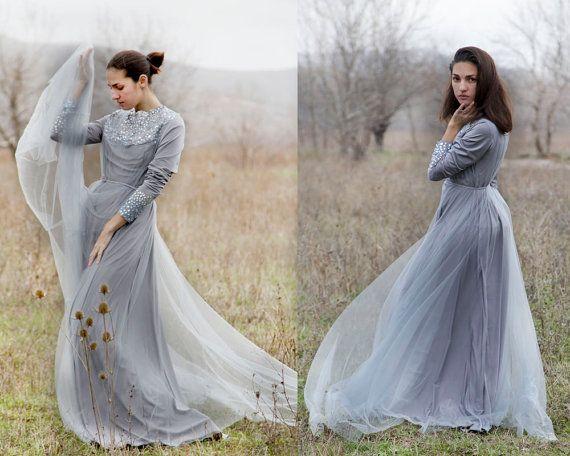Romantic wedding Dress Grey wedding dress by AnnaSkoblikova