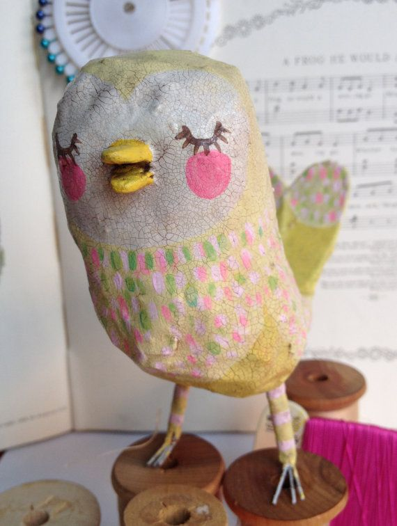Little Yellow Paper Mache Bird